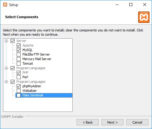 XAMPP - Επιλογή στοιχείων και υπηρεσιών