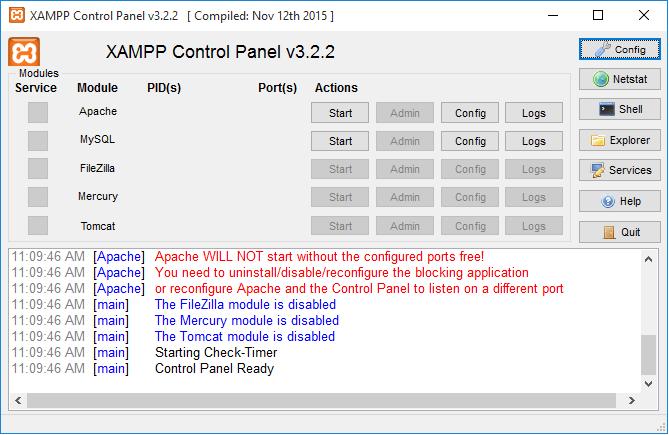 XAMPP - Σφάλματα