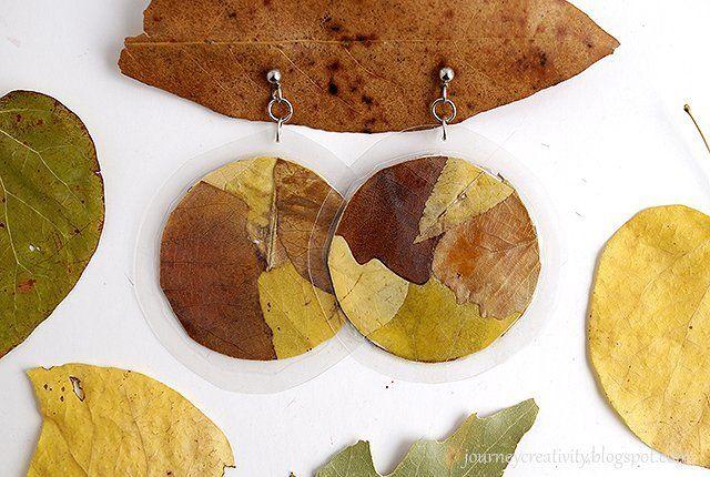 Πλαστικοποιημένα Σκουλαρίκια με Φύλλα