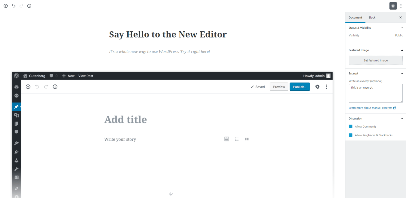 WordPress Gutenberg Live View