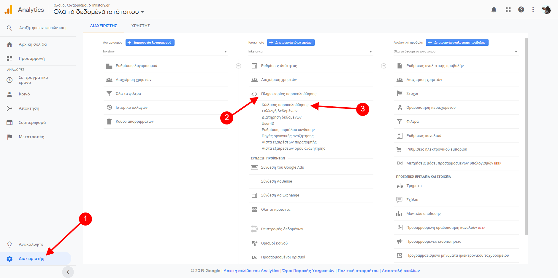 Κώδικας παρακολούθησης στο Google Analytics λογαριασμό